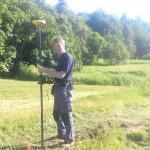 GPS-inmätning av fiberslangens läge i Brygge
